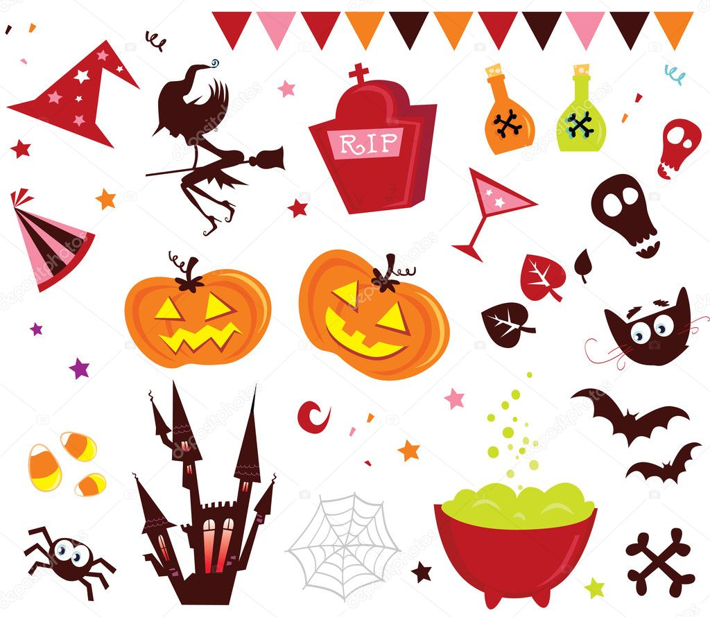 Halloween vector icons in red color. Vector Illustration.  Stock Vector #2643013