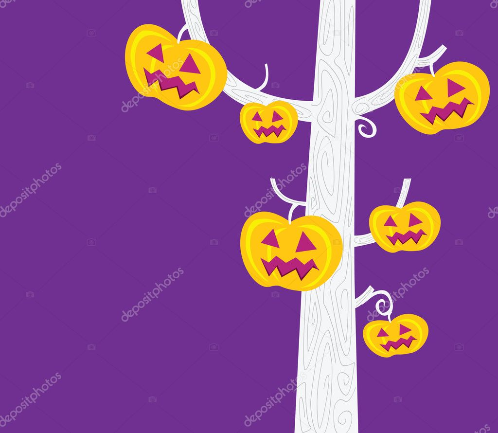 Black-white silhouette of pumpkin – head tree. Vector Illustration. — Stock Vector #2643385