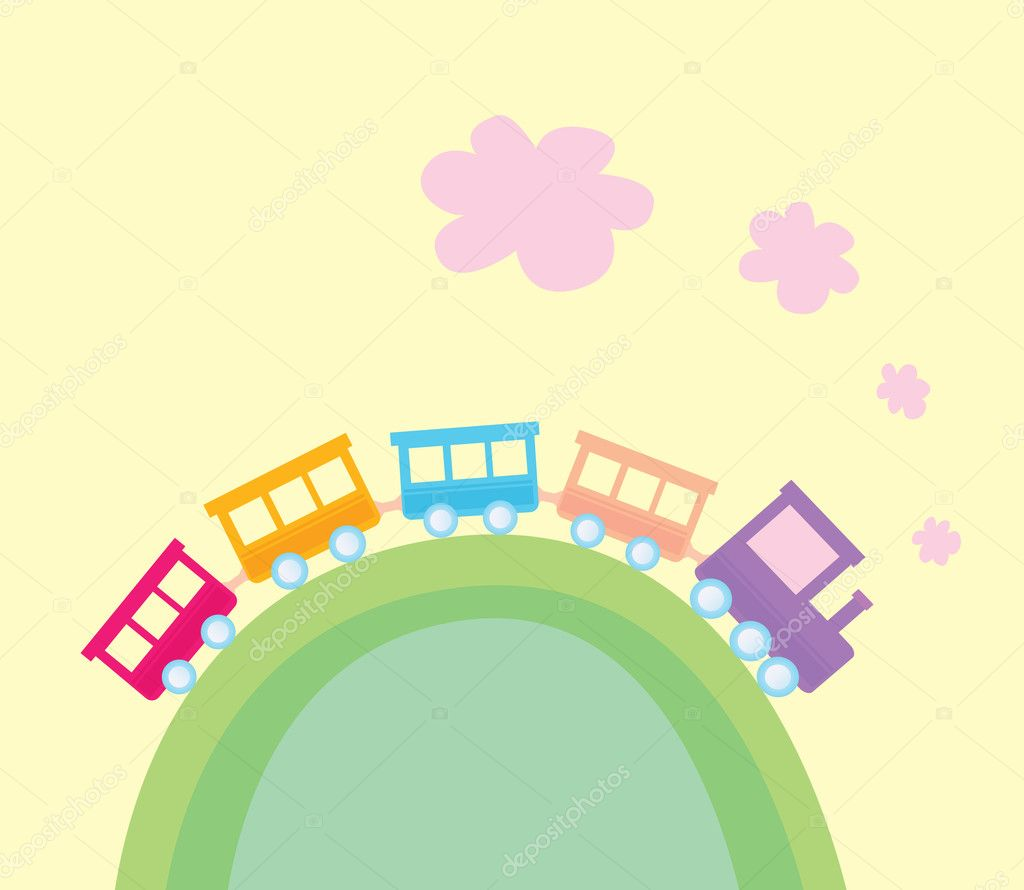 Wonderful train is going through pastel country. Vector Illustration. — Stock Vector #2643682