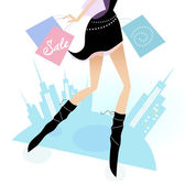 Long legs woman shopping in the city — Stock Vector