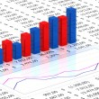 Spreadsheet with blue graph — Stockfoto