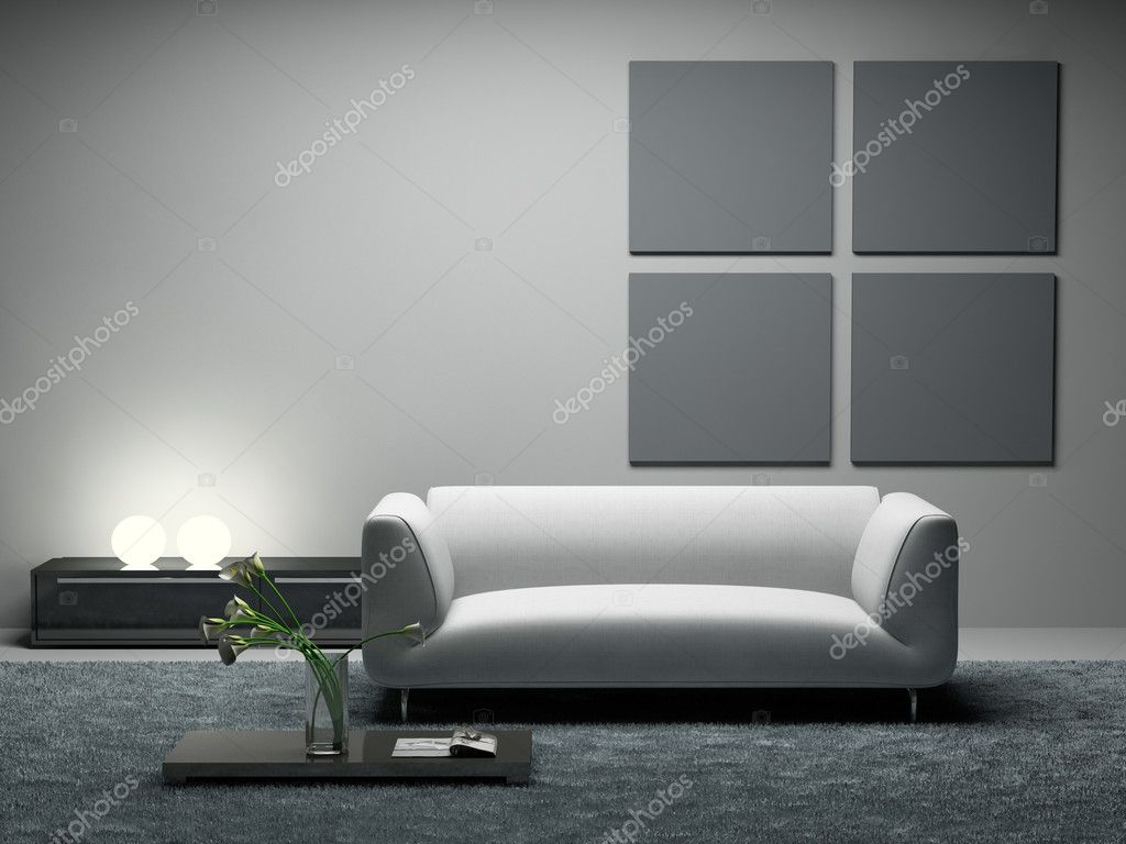 Modern room 3D rendering. Photo in magazine was made by me, I uploaded model's release — Stock Photo #2541961