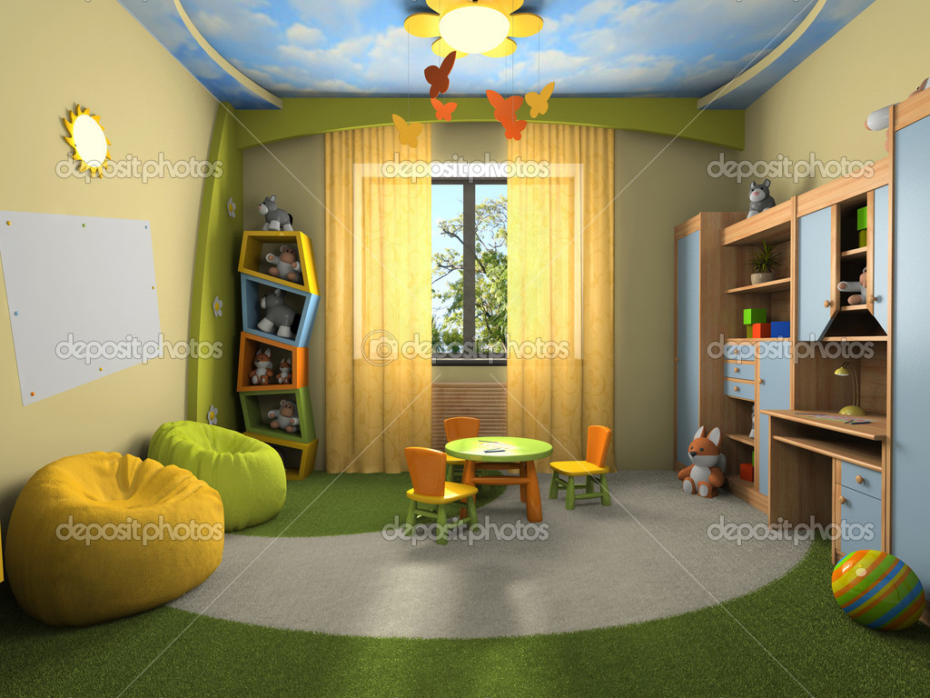 Modern interior of the childroom 3D rendering  Stock Photo #2541987