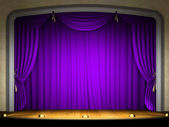 Empty stage with violet curtain — Stock Photo