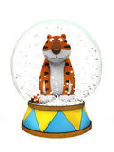 Tiger in the snow globe — Stock Photo