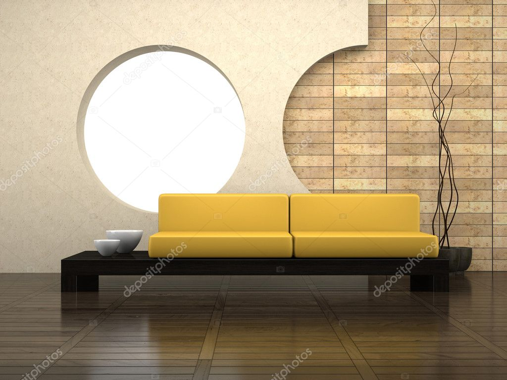 Modern drawing-room 3D rendering  Stock Photo #2596001