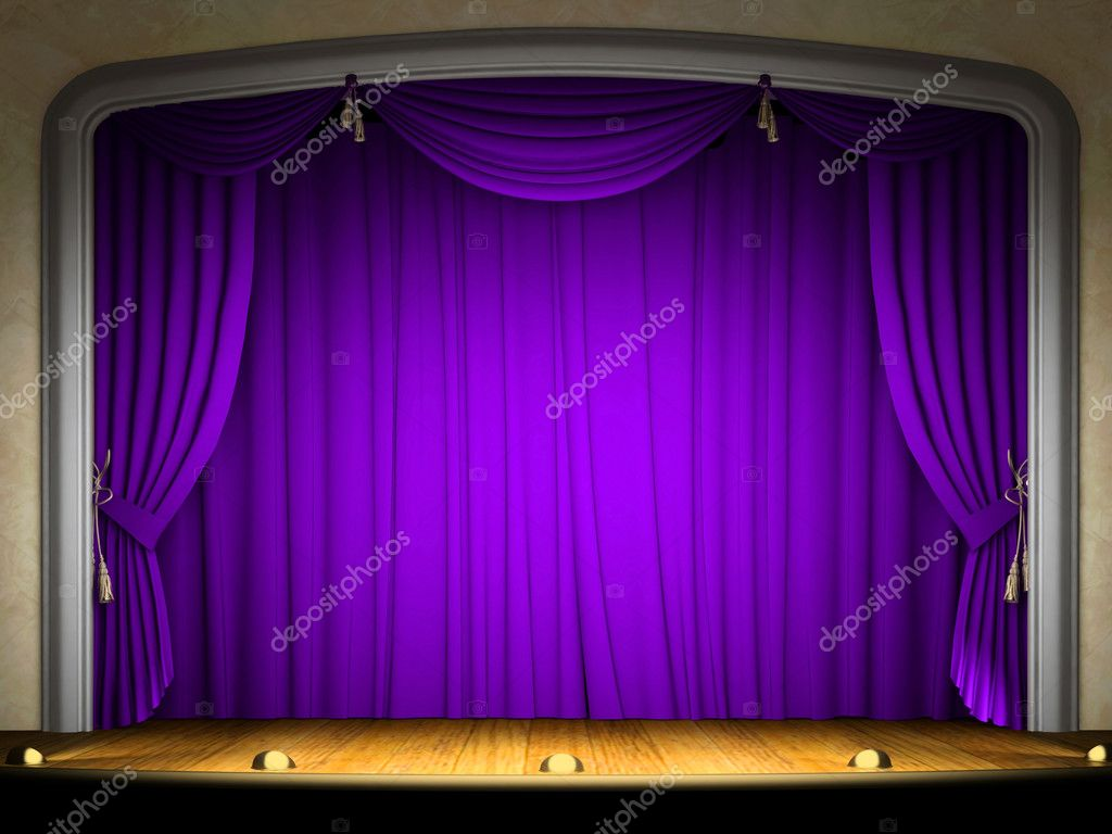 Empty stage with violet curtain in expectation of performance  — Stock Photo #2596038