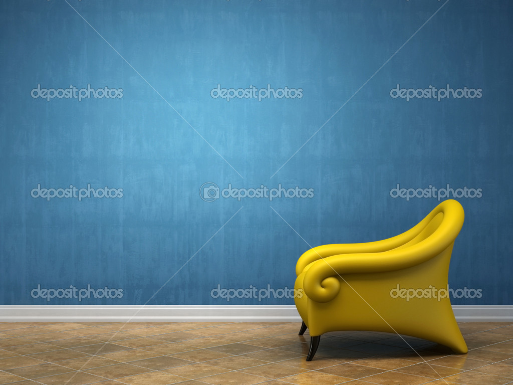 Conceptual interior with yellow armchair 3D rendering  Stock Photo #2596349