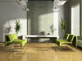 Interior de la moderna sala de espera en 3d — Foto de Stock