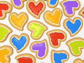 Multicoloured heart cookies — Stock Photo