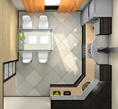 View from above on the modern kitchen — Stock Photo