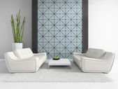 Modern interior with two white sofas — Stock Photo