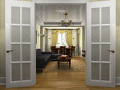 Modern interior in classical style — Stock Photo