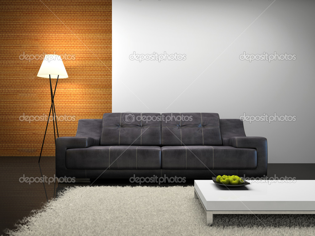 Part of the modern interior with sofa 3D rendering — Foto Stock #2612431