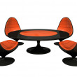 Royalty-Free Stock Photo: Four black and orange armchairs