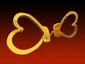 Handcuffs-heart 3D rendering — Stock Photo