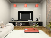 Modern room witn home theater — Stock Photo