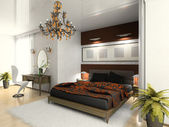 Modern bedroom 3D — Stock Photo