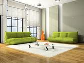 Interior moderno con sofás verdes — Foto de Stock