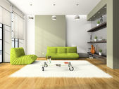 Modern interior with green sofas — Stock Photo