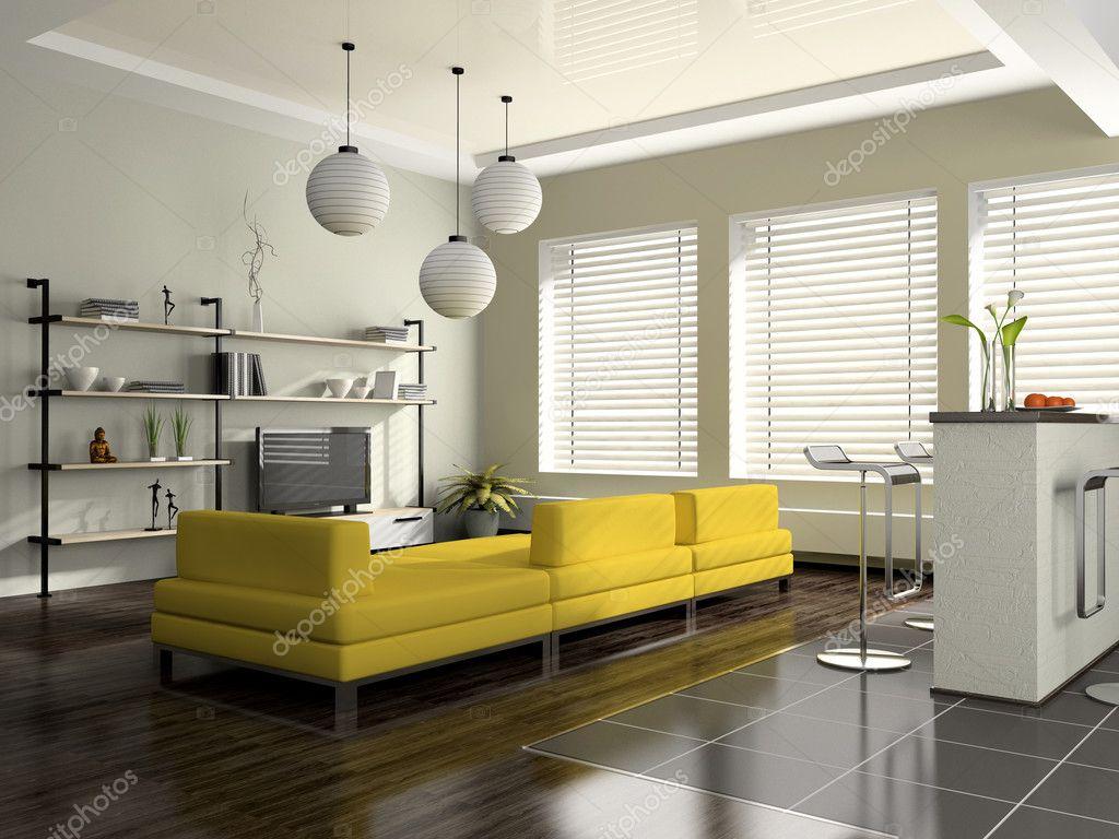 Modern Interior With Yellow Sofa Stock Photo Hemul75
