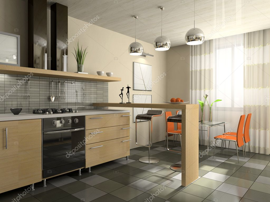 Interior of fashionable kitchen 3D rendering — Stock Photo #2647948