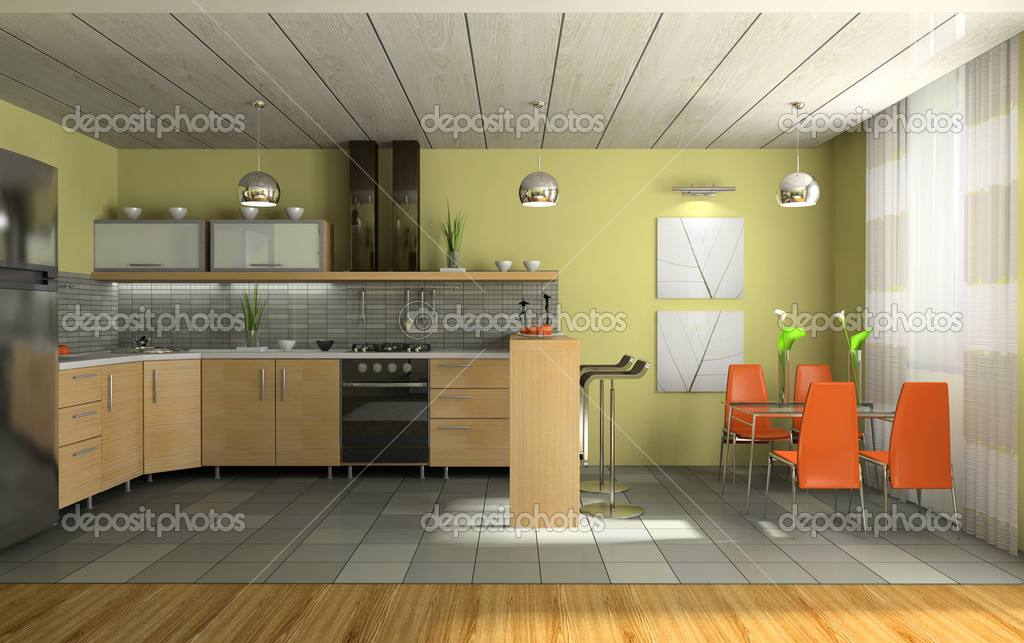 Interior of fashionable kitchen 3D rendering  Stok fotoraf #2647966