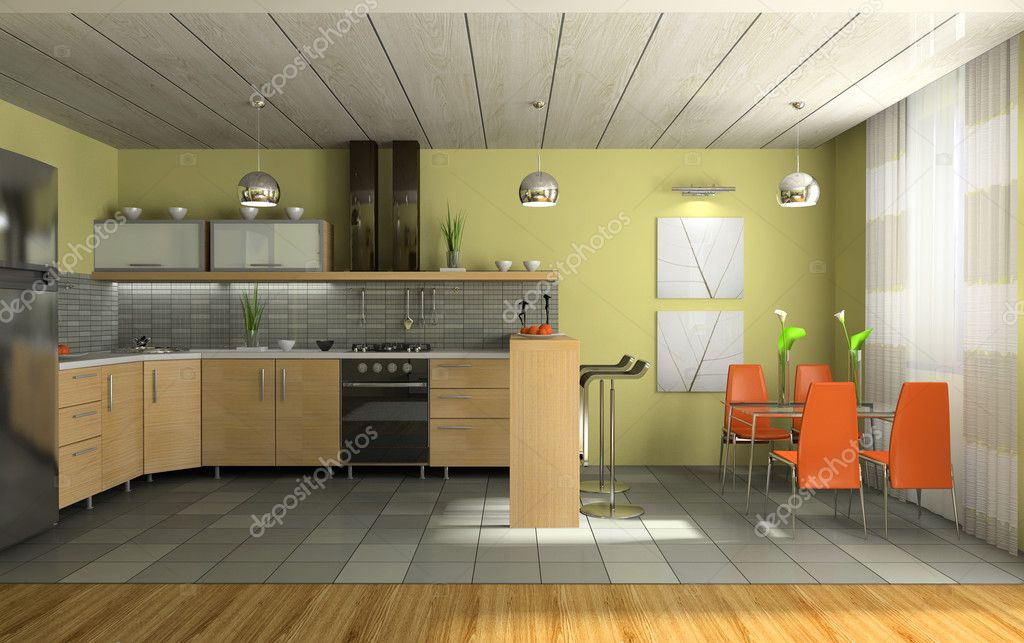 Interior of fashionable kitchen 3D rendering    #2647966