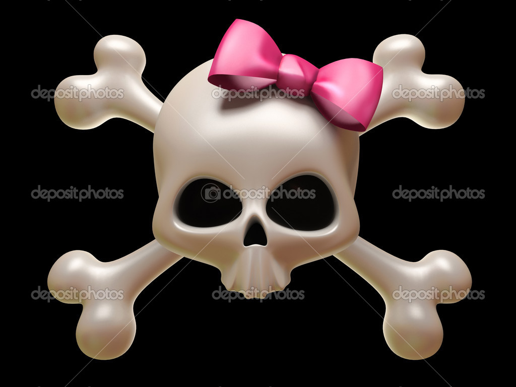Skull with pink bow isolated on black background  Stock Photo #2648250