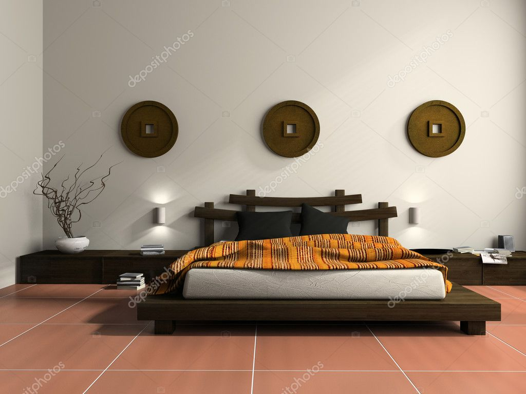 Modern bedroom in  ethnic style 3D rendering  Stock Photo #2648343