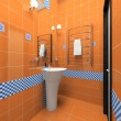 Interior of the orange bathroom — Stock Photo #2652428