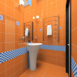 Interior of the orange bathroom — Stock Photo
