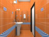 Inredning i orange badrummet — Stockfoto