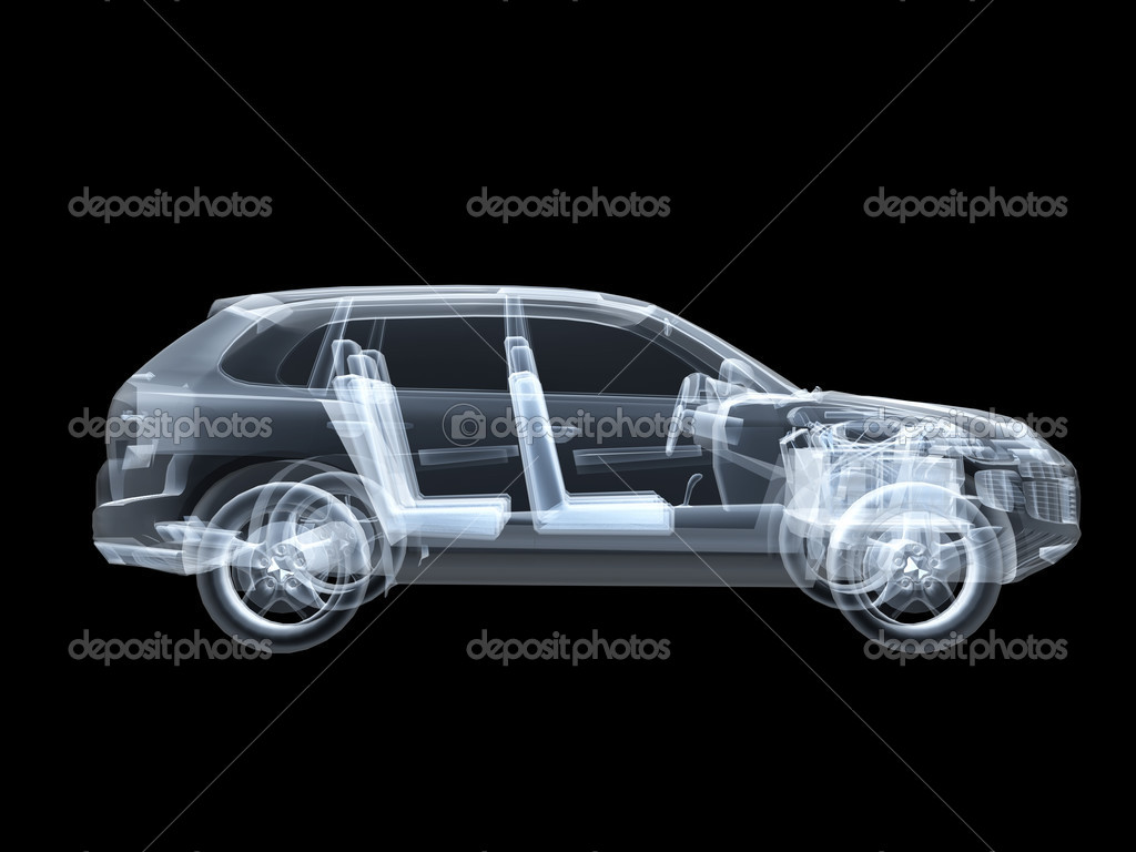 X-ray photography of the car 3D — Stock Photo #2650531