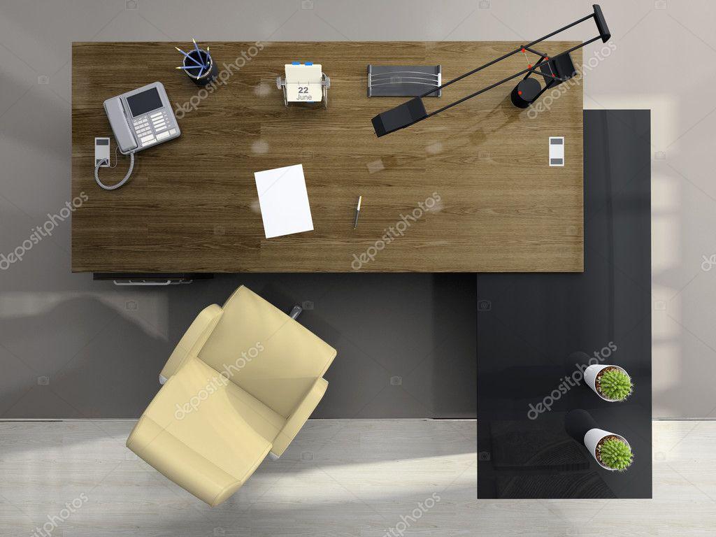 Vue den haut sur le bureau moderne photographie hemul75 for Table vue de haut