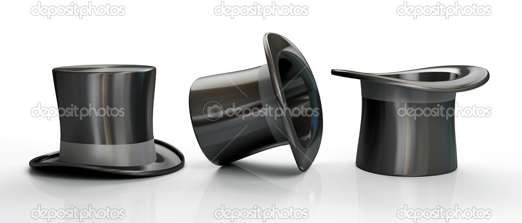 Three black top hats isolated on white background 3D — Stock Photo #2651020
