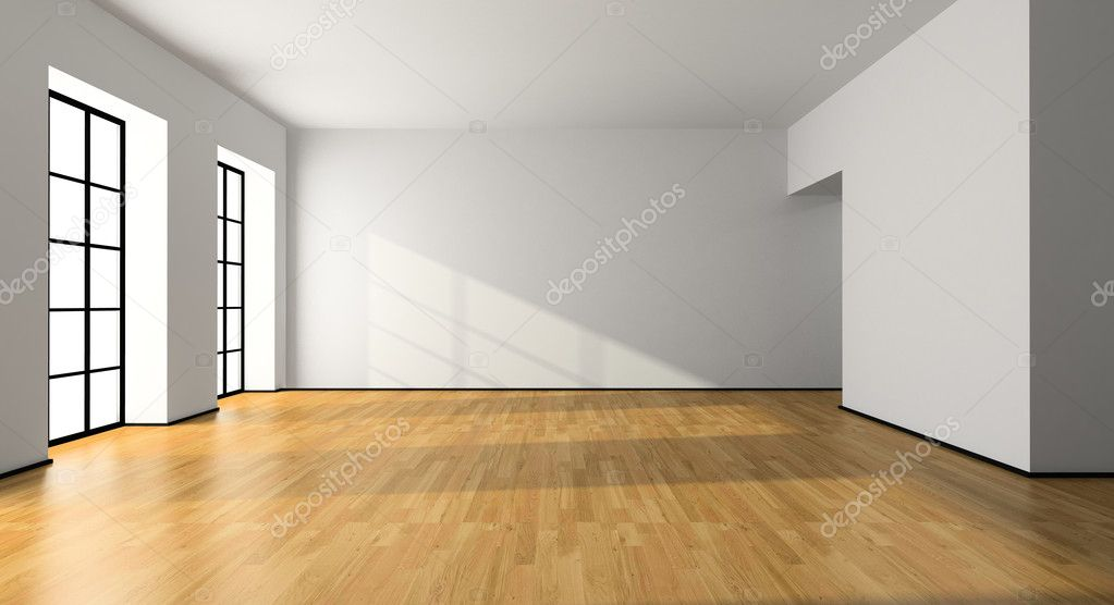 View on the empty room 3D rendering — Stock Photo #2652599