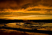 Sunset Over Grand Fountain Geyser 2 — Stock Photo