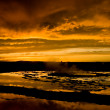 Sunset Over Great Fountain Geyser 1 — Stock Photo