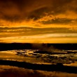 Sunset Over Great Fountain Geyser 1 - Stock Photo