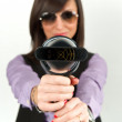 Royalty-Free Stock Photo: Hairdryer gun holding by a woman