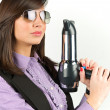 Hairdryer gun holding by a woman - 图库照片