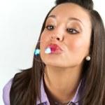 Pretty woman in a studio with bubbles — Stock Photo #2638378