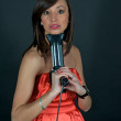 Hairdryer gun holding by a woman — Stock Photo #2638652