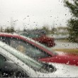 Stock Photo: Rain Drops on Windshield