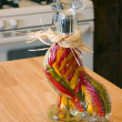 Decorative Glass Hen filled with Garlic - Stock Photo