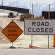 Stock Photo: Construction Site and Road Closed SIgn