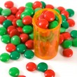 Medicine Bottle filled with Candy — Stock Photo