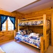 Close up on a Bedroom in a Cabin — Foto de Stock