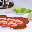 Shrimp Plate with Sliced Bread — Stock Photo